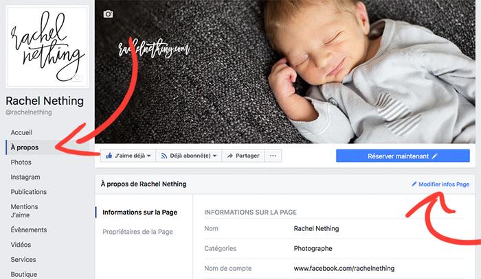 Choisir un joli texte pour présenter sa Page Facebook et donner envie de vous suivre.
