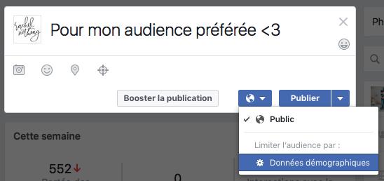 Cibler mes publications Facebook à une audience préférée