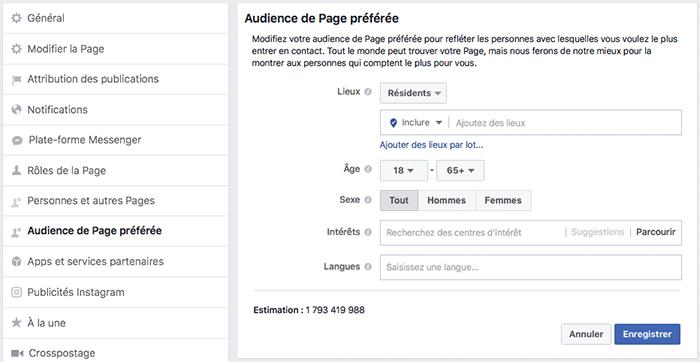 Réglages proposés par Facebook pour mieux cibler l'audience de sa page.