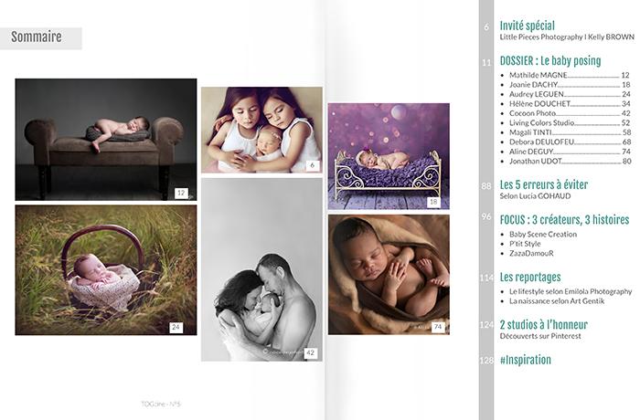 Sommaire du magazine pour les photographes nouveau-né