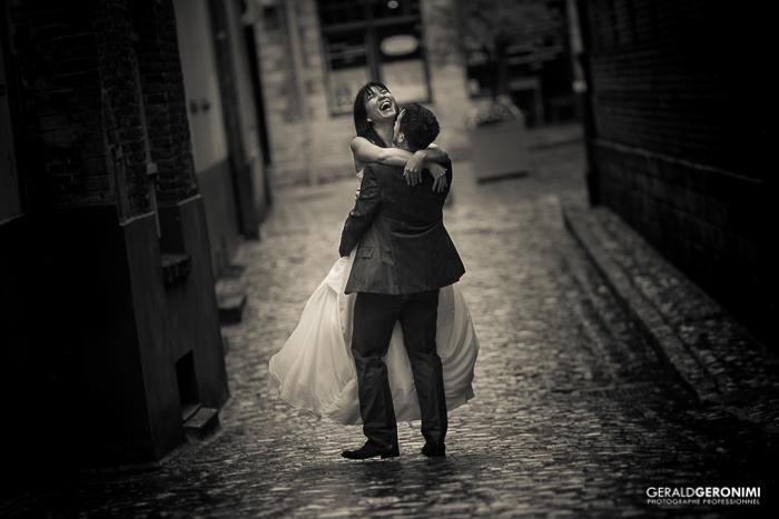 Photo de mariage noir et blanc réalisée au Fujifilm XT1