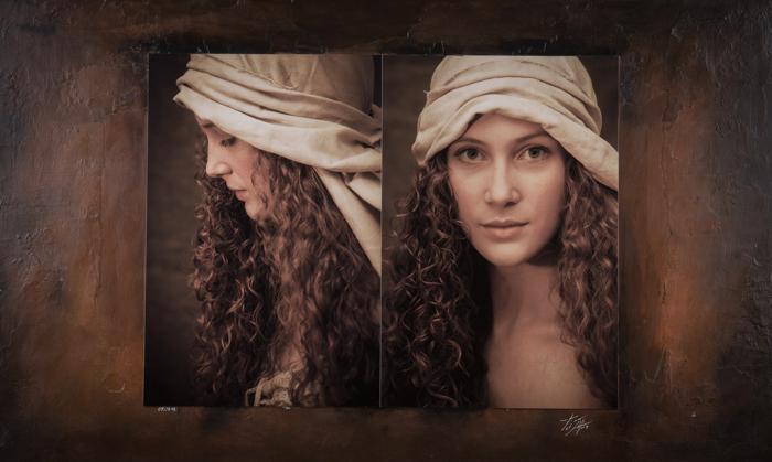 Tableau mêlant portrait et peinture - hirn photographie
