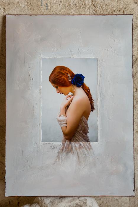 Portrait de femme mêlant photographie et peinture, photo sociale et artistique par le couple Hirn Photographie