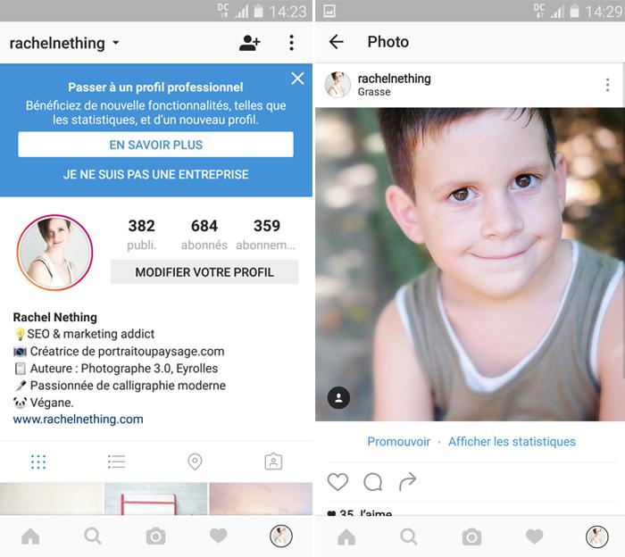Capture écran Instagram pour passer en profil professionnel