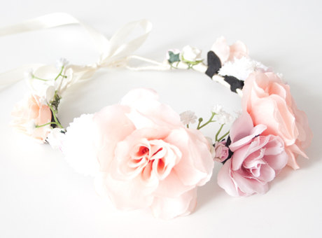 couronne de fleurs romantique - rose
