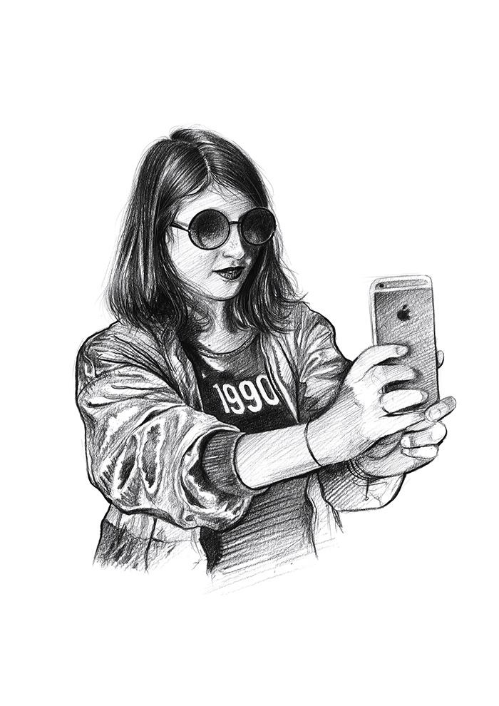 Dessin au crayon sur le thème des années 90 - selfie