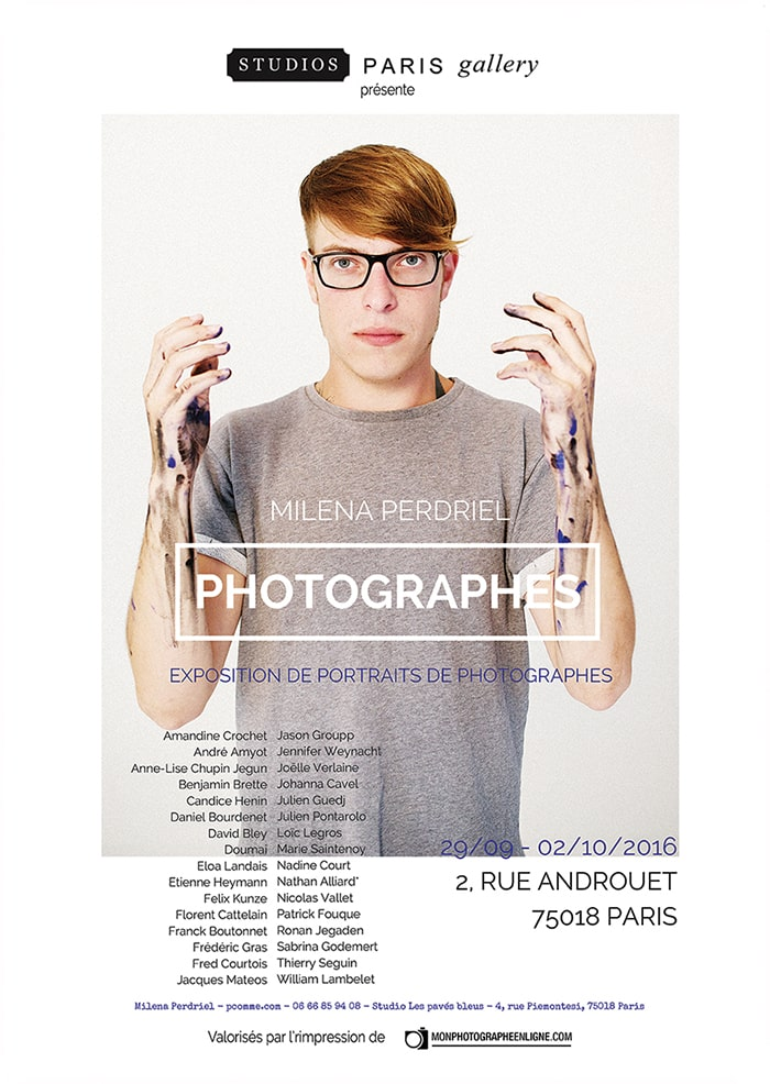 """Affiche de l'exposition """"photographes"""" de Milena Perdriel, photographe à Paris"""