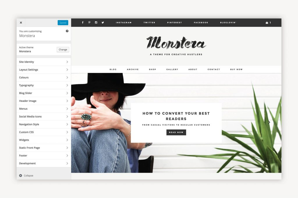 Capture écran du menu de personnalisation WordPress