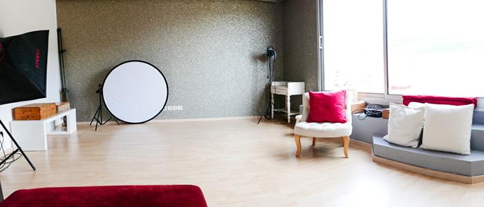 Le studio photo d'Amandine Crochet, sobre, élégant et professionnel !