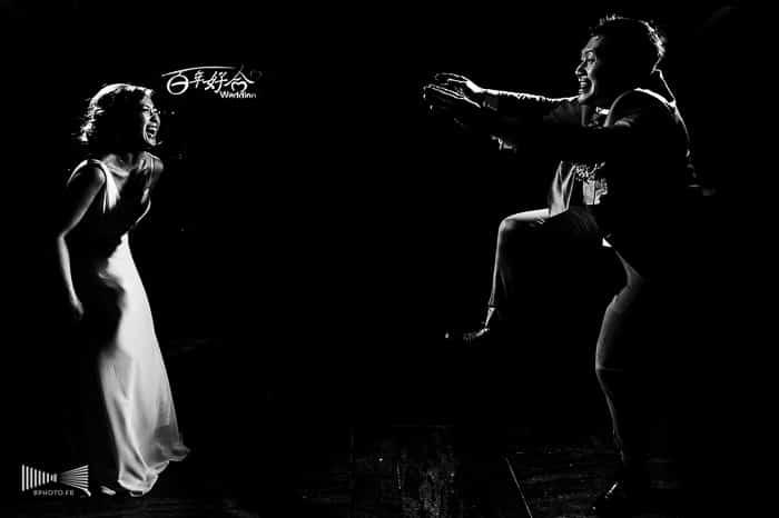Photographie de mariage en noir e blanc