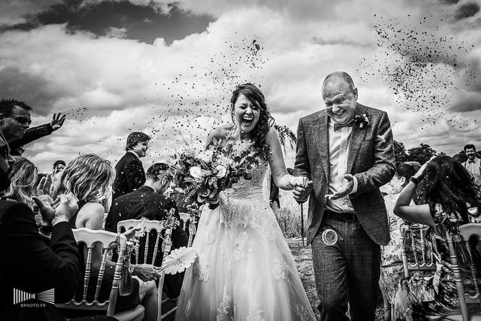 Photo de mariage noir et blanc de Benjamin Brette