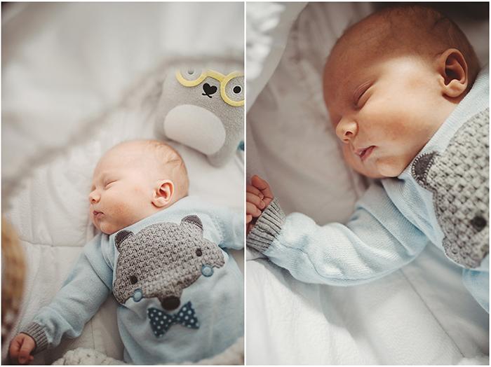 Diptyque d'un bébé qui dort dans son berceau. La seconde image zoume sur le visage du bébé endormi