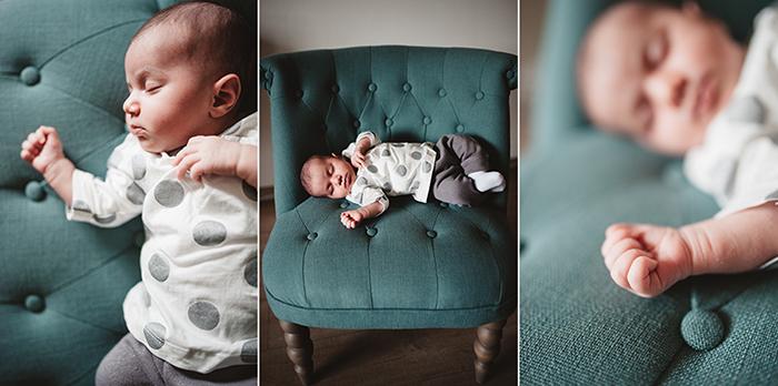 Un triptyque pour raconter l'hisoire d'un bébé en photos.