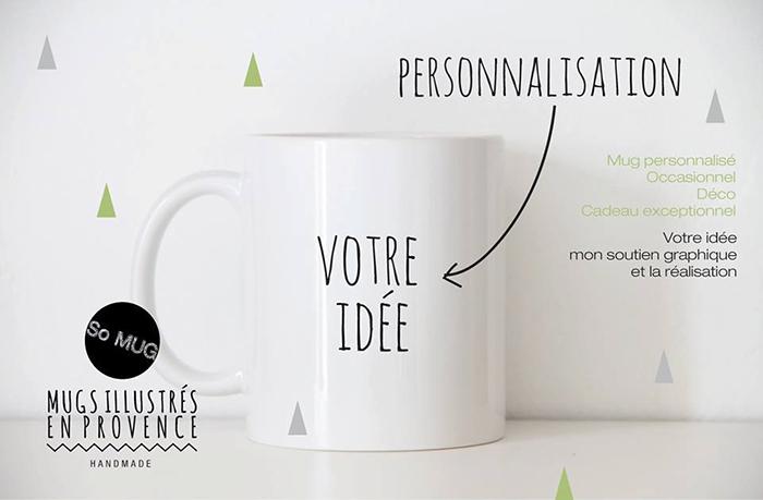 Un mug blanc, que vous pouvez faire illustrer sur-mesure pour qu'il porte votre slogan ou le message de votre entreprise.
