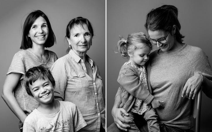 Portrait de famille. Noir et blanc.